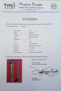 sertifikasi keris bonang rinenteng